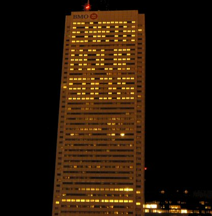 Earth Hour Sucks tower block
